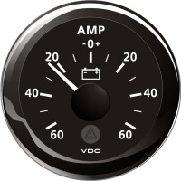 Vdo amp.meter 60a, sort ø52mm